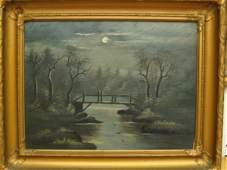 113N: 1800'S VINTAGE OIL BOARD NIGHT RIVER FOREST SCENE