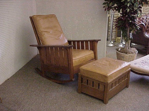 164H: MISSION OAK ARTS AND CRAFTS MISSION STYLE  ROCKER