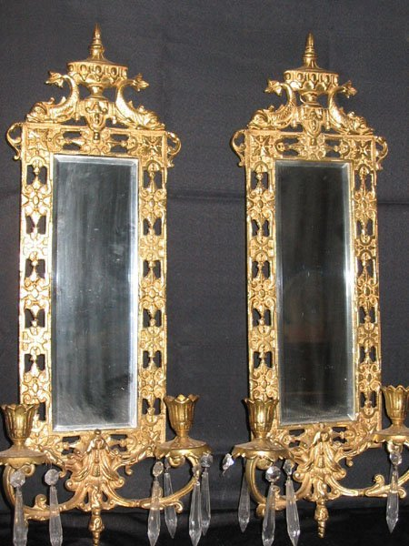 611: BRASS MIRROR & CANDLE HOLDER SCONCE W/PRISMS PAIR.