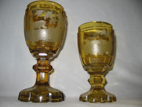 615: BOHEMIAN AMBER CUT TO CLEAR ETCHED STAG GOBLETS -