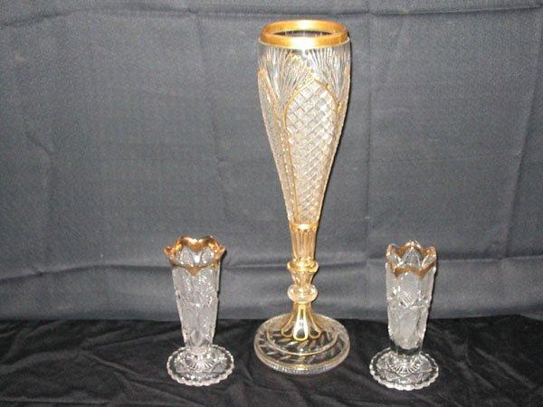 616: CUT GLASS DEPRESSION 3 VASES GOLD TRIM.