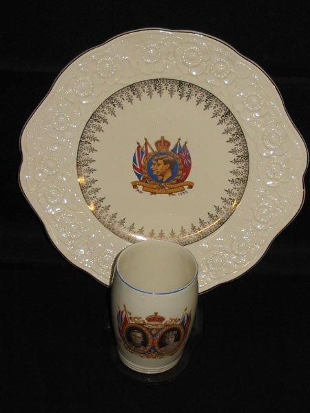 619: 1939 KING GEORGE VI & QUEEN ELIZABETH PLATE & CUP.