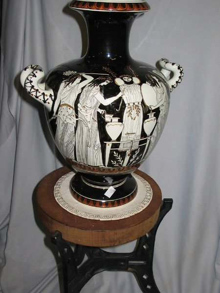 636: 1939 GREEK VASE WITH HANDLES & STAND, HAND-MADE.