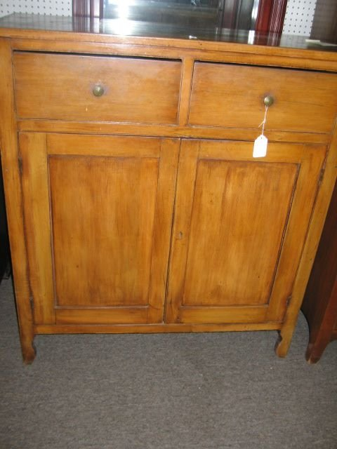 680: PRIMITIVE EARLY PINE SIDEBOARD/CUPBOARD.