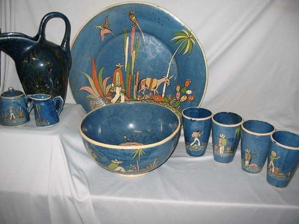 629: MEXICAN BLUE GLAZED POTTERY.  EARLY 51 PC. SET.