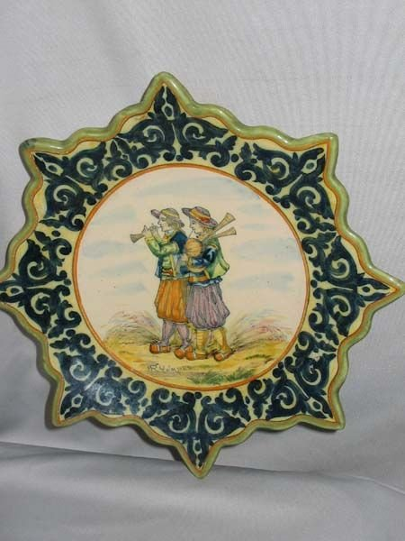 640: QUIMPER FRENCH FAIENCE POTTERY PLATE. UNUSUAL.