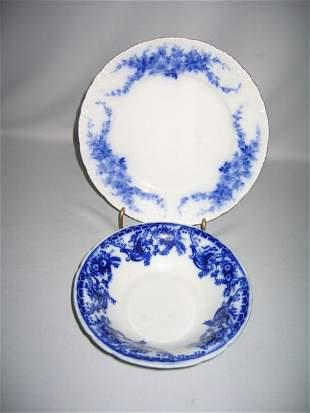 FLO BLUE BOWL, DAISY PLATE, BURGESS & LEIGH