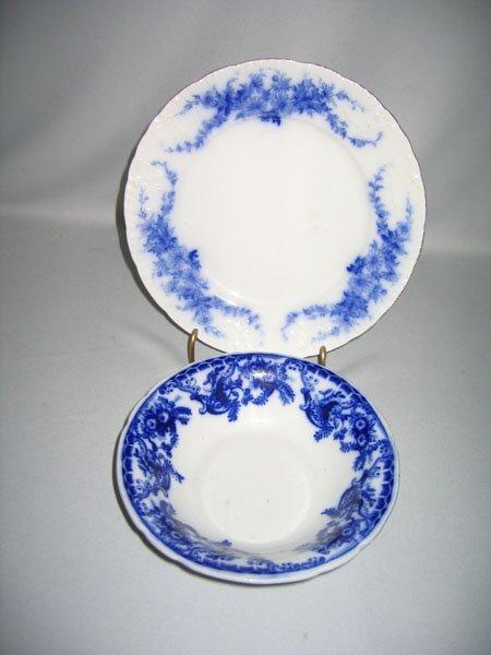 4: FLO BLUE  BOWL, DAISY PLATE, BURGESS & LEIGH