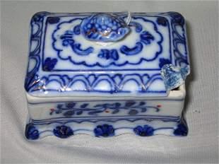 FLO BLUE TRINKET BOX W/KNOBBED LID