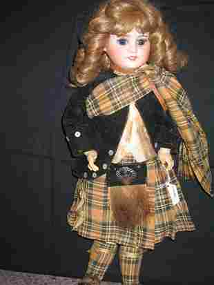 BISQUE CHARACTER DOLL, FRENCH, W/SCOTTISH CLOTHES