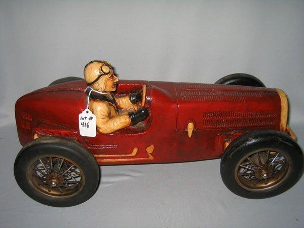 416: SOAPBOX DERBY CAR W/DRIVER. ANTIQUE REPRODUCTION.