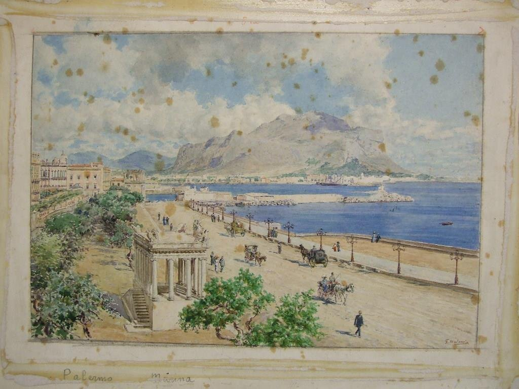 F Matania, a view of Palermo, watercolour, signed, 20 x