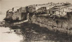 A Lumsden etching, Miranda de Ebro, 24/50, signed, 21 x