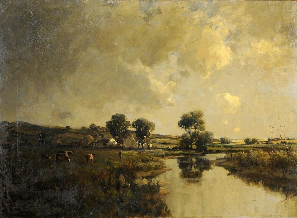 a  James Humbert Craig, a river landscape with a figure