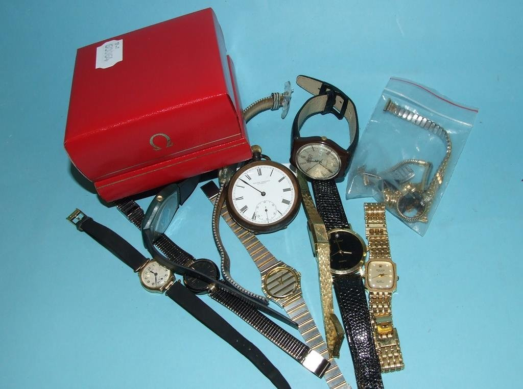 An Omega wristwatch box, a Tag Heuer box, a pocket