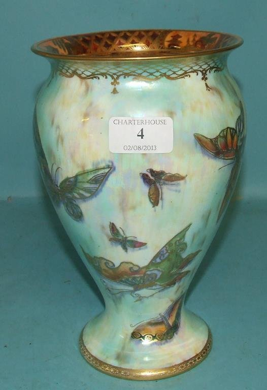 A Wedgwood lustre style vase, decorated butterflies,
