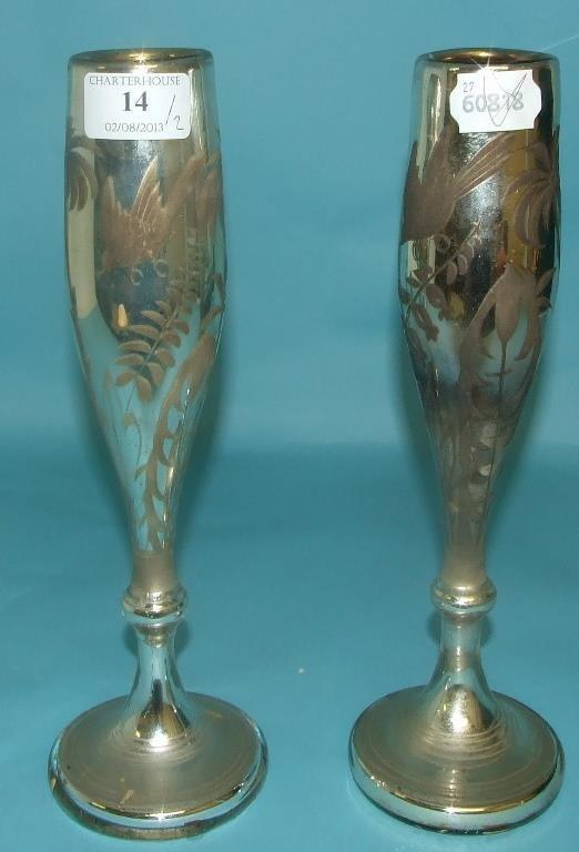 A pair of Bohemian mercury glass vases, 27.5 cm high