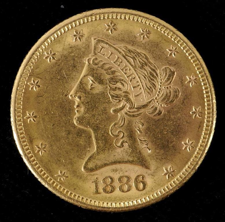 A USA gold $10 coin, 1886  See illustration