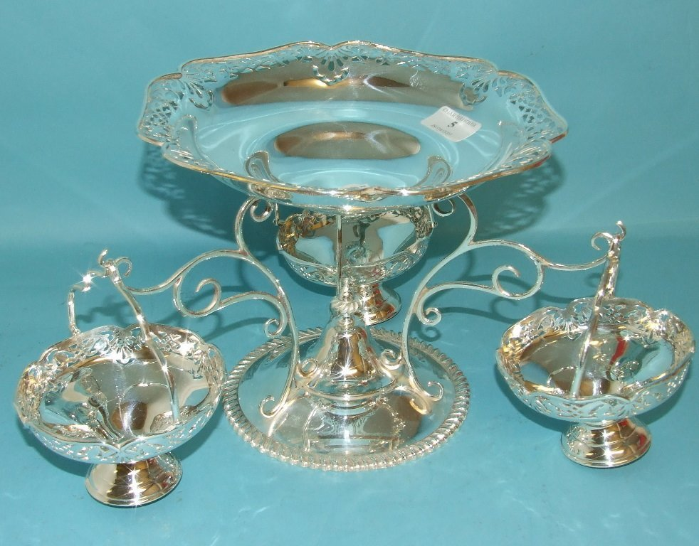 A silver plated centre piece