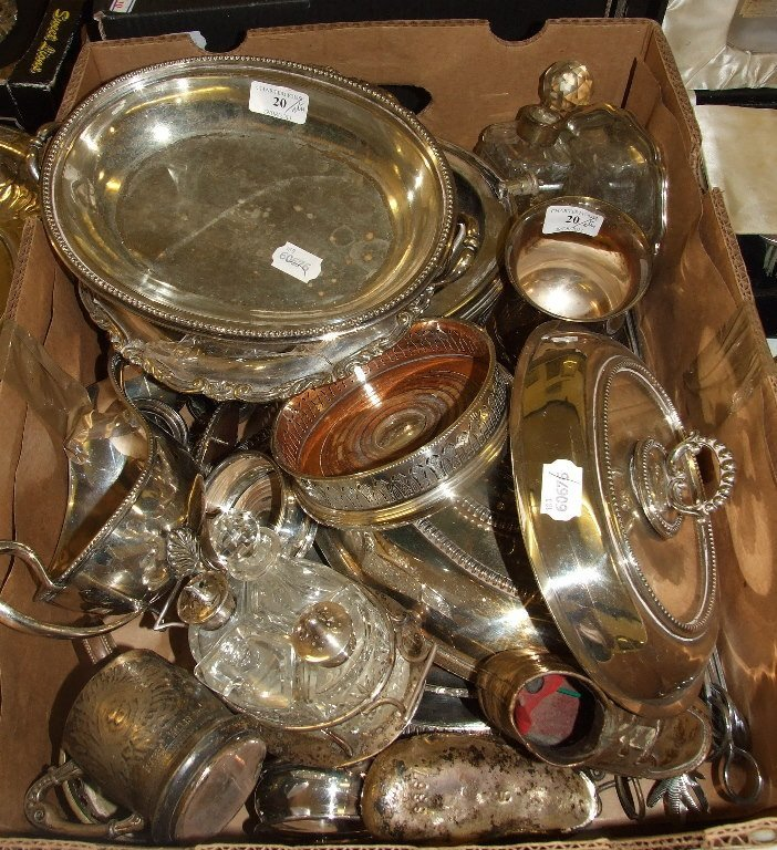 A silver plated breakfast turnover dish, other items,