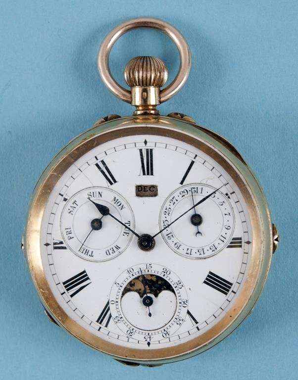 A French open face pocket watch, the white enamel dial