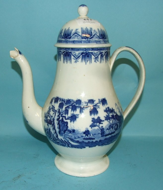 A Worcester style coffee pot and cover, with underglaze