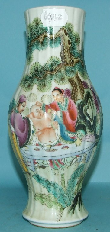 A Chinese style vase, decorated figures, 25 cm high