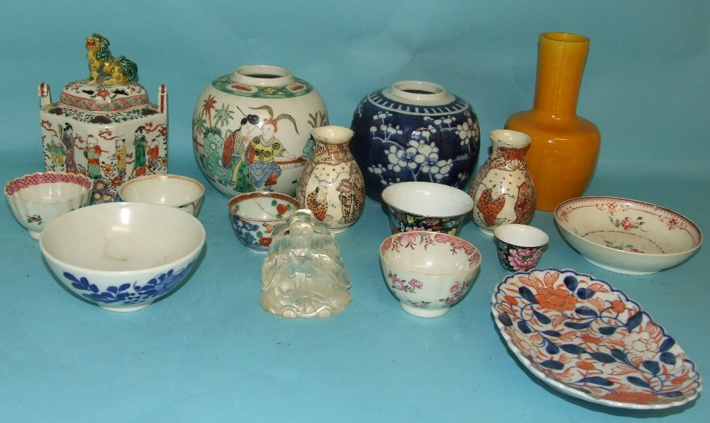 A Chinese ginger jar, and other assorted Chinese and