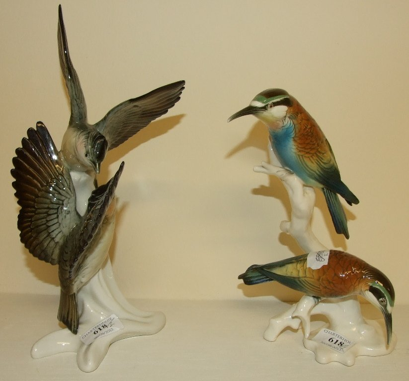 A Karl Ens group, of two birds, 4148, 22.5 cm high, and