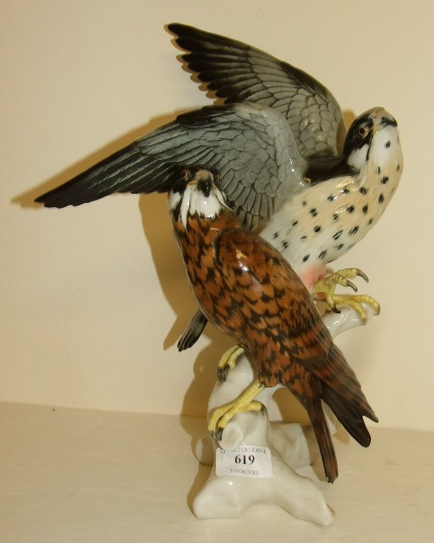 A Karl Ens group, of two falcons, 7640, 34.5 cm high