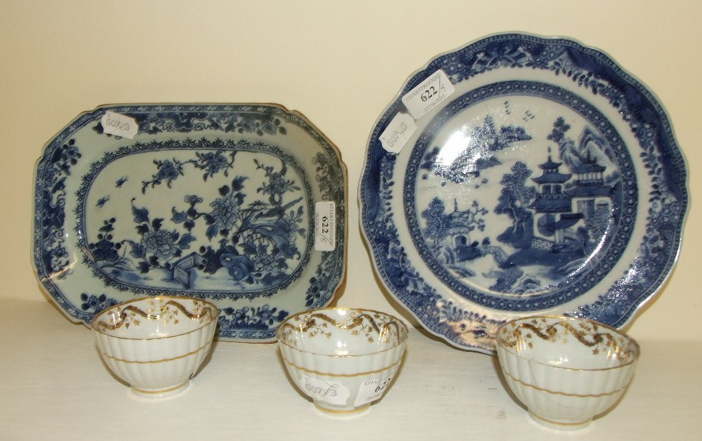 A Chinese porcelain blue and white plate, decorated