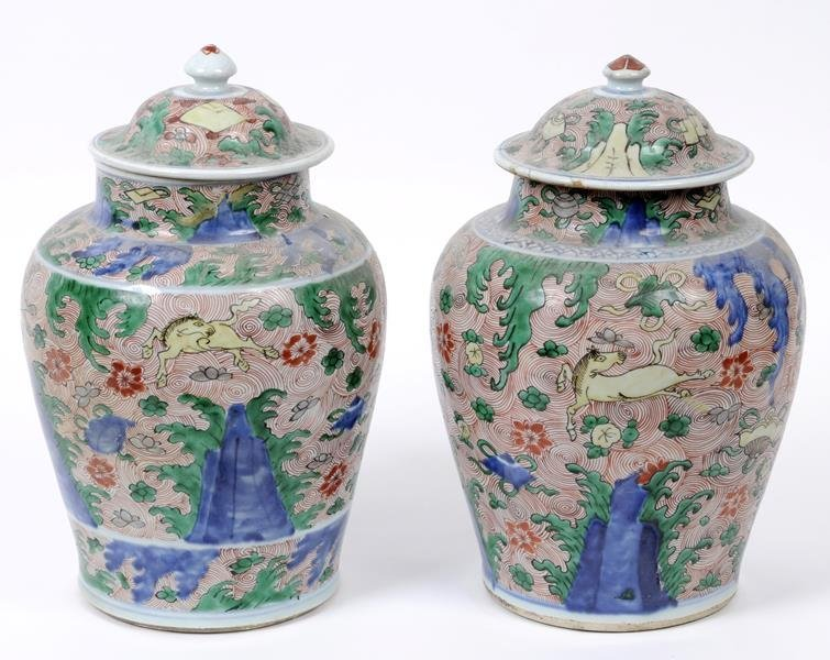 A matched pair of Chinese vases and covers, of baluster