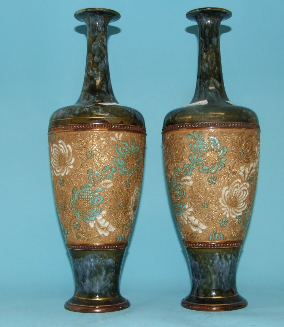 A pair of Royal Doulton Slater's Patent vases, 1884,