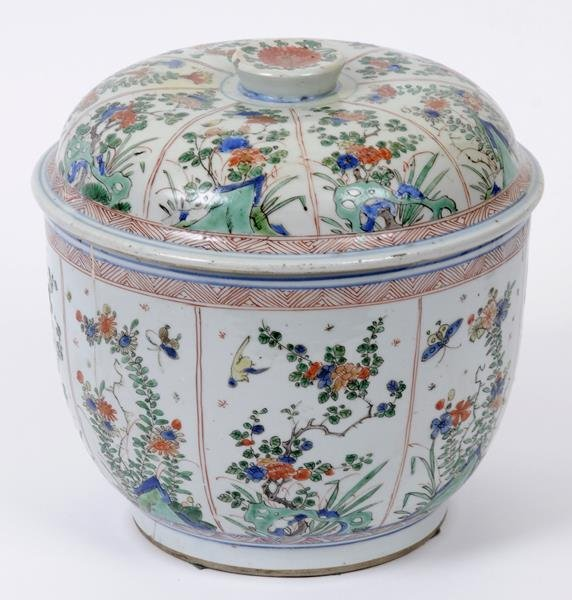 A Chinese famille verte bowl and cover, decorated