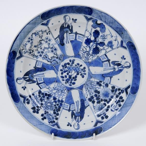 A Chinese porcelain plate, decorated panels of figures