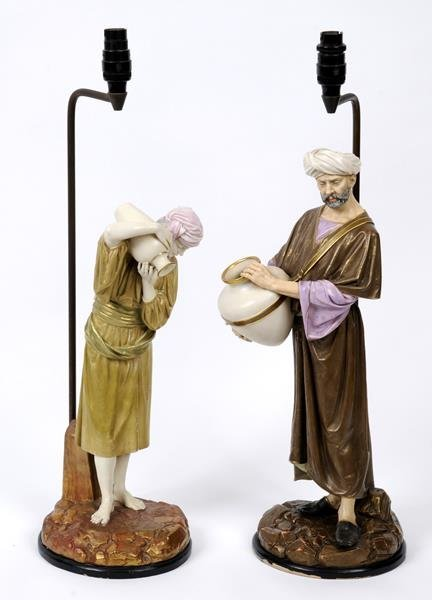 A pair of Worcester Hadley porcelain figures, of water