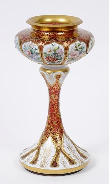 A Victorian cranberry and white cased glass lustre,