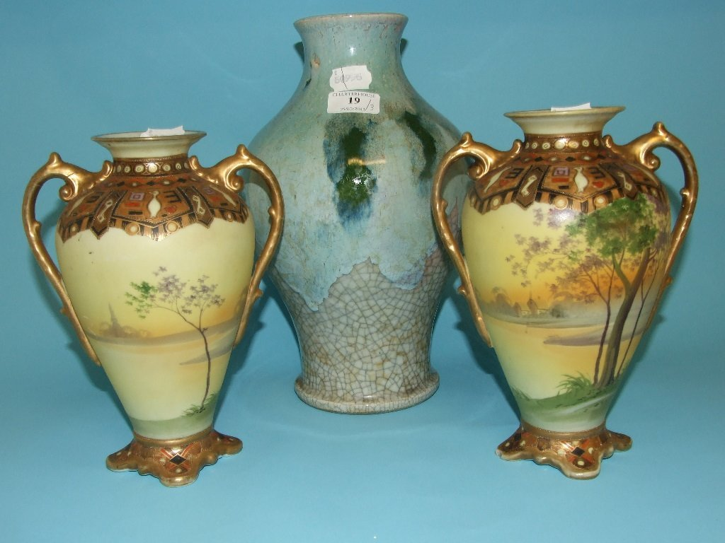 A pair of Noritake vases, 22.5 cm high, and a crackle