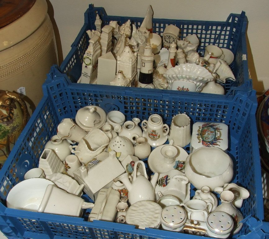 A Crested Ware Weston Super Mare yacht, and other