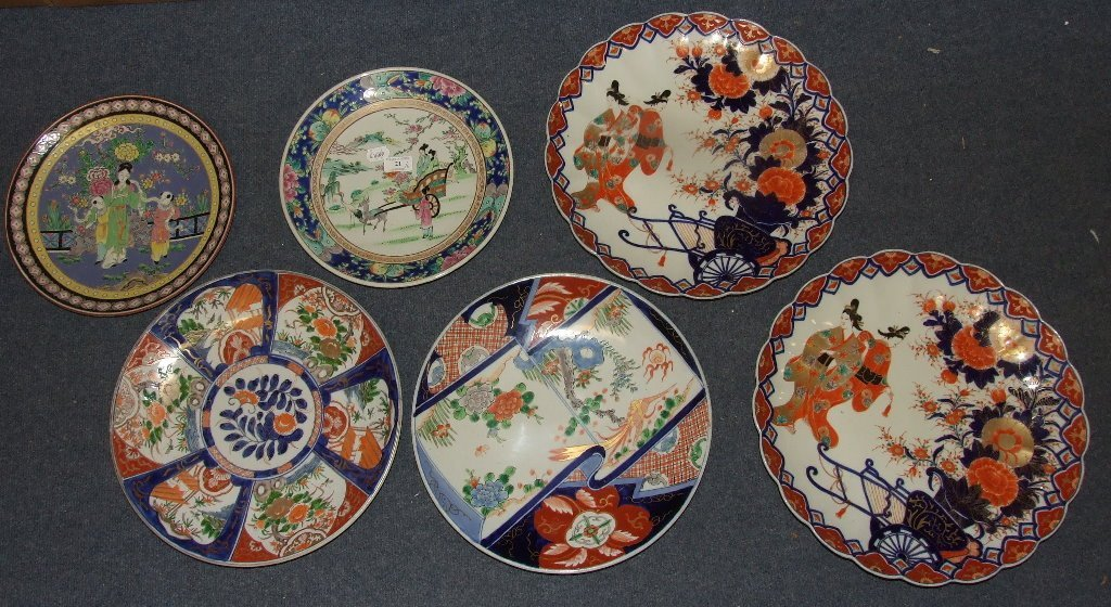 An Imari charger, 40 cm diameter, and five others