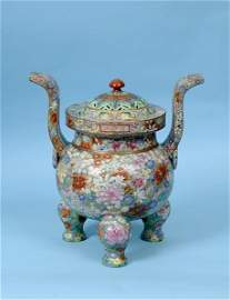 A fine Chinese censer, with a pierced cover, decorated