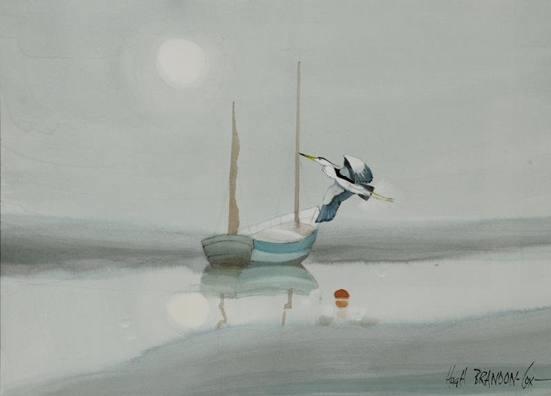a  Hugh Brandon-Cox, Misty Morning Flight, watercolour,