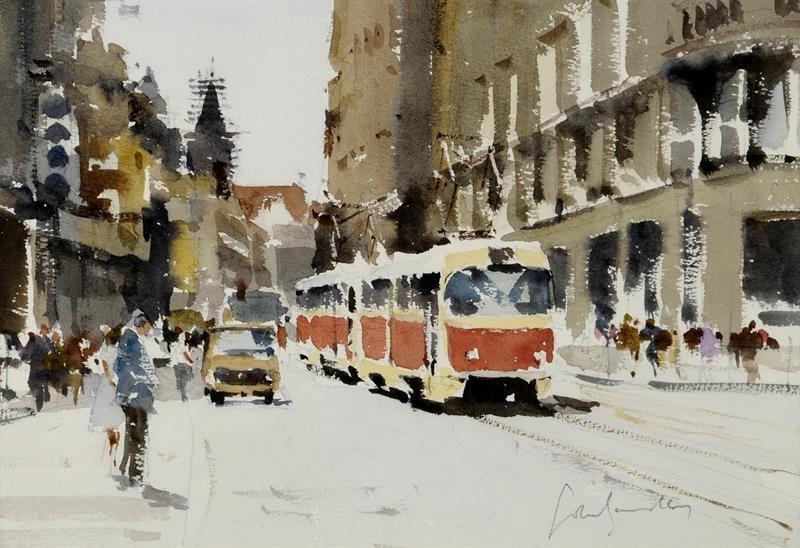 a  John Yardley, The No 12 Tram, watercolour, signed,
