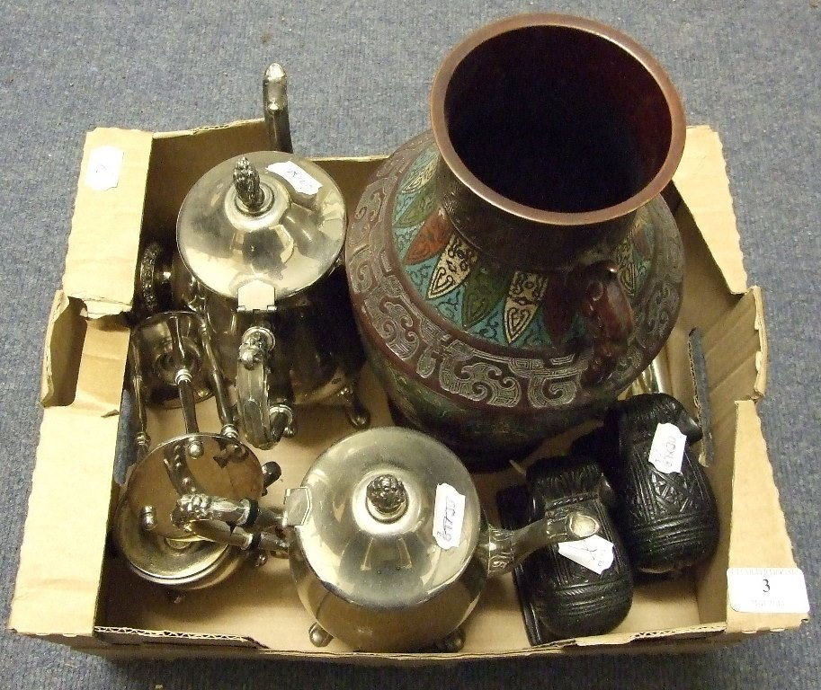 A silver plated part tea service, a bronze and enamel