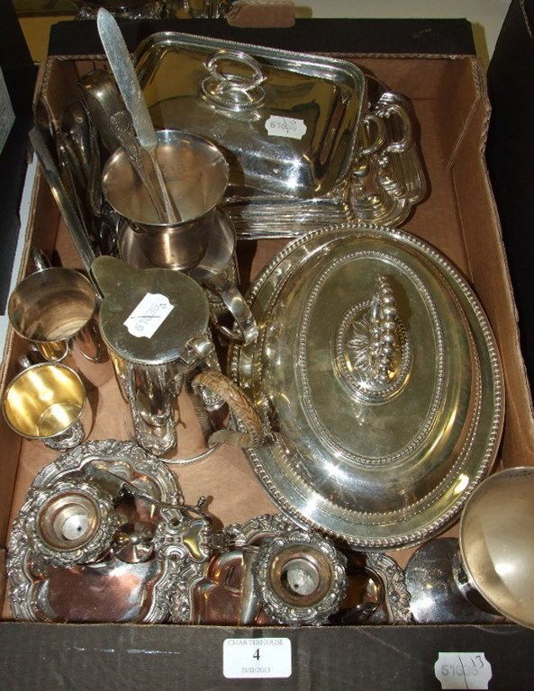 Two silver plated entree dishes, a pair of silver plate