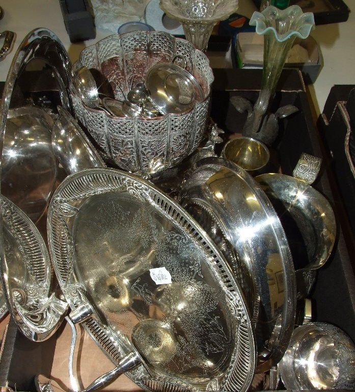 A silver plated salver, a table centrepiece, in the