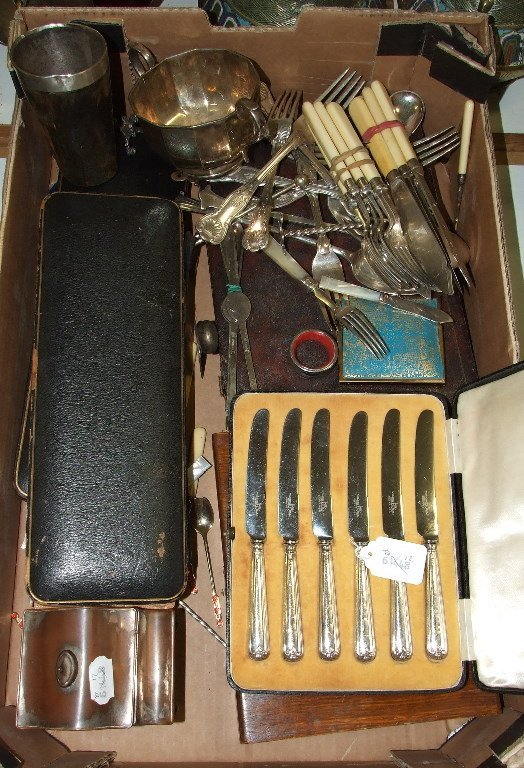 A set of six silver handled knives, cased, and assorted