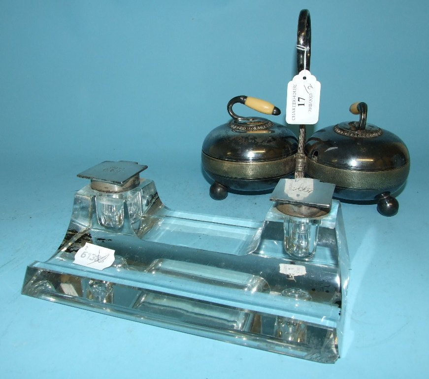 A silver mounted glass desk stand, initialled and