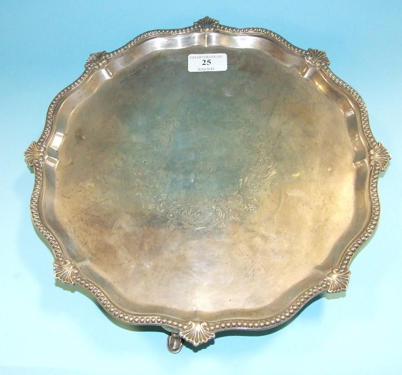 A Victorian silver salver, initialled, London 1897,