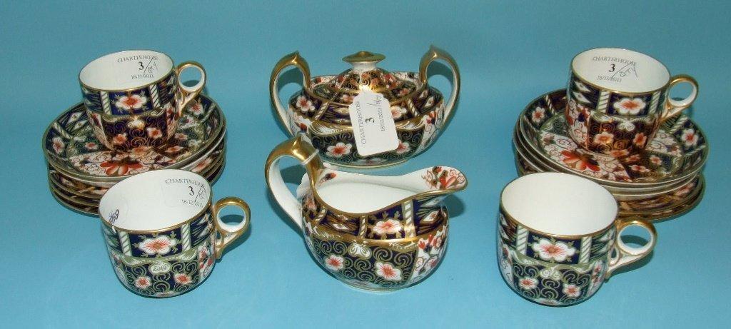 A Royal Crown Derby Imari pattern part tea service,